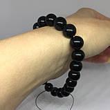 Обсидиан красивый браслет с обсидианом на резинке Индия, фото 4
