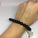 Обсидиан красивый браслет с обсидианом на резинке Индия, фото 5