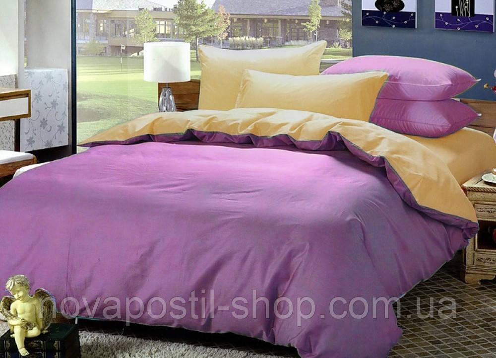Однотонное постельное белье из поплина, Комплект Розово-бежевый