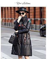 Зимняя кожаная куртка с принтом, женский пуховик