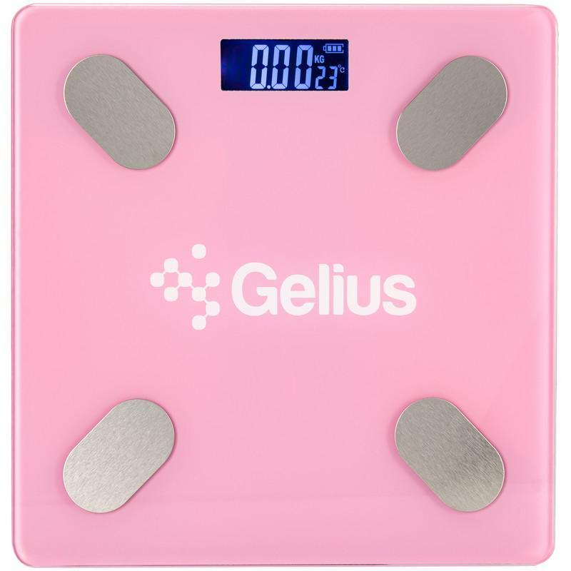 Умные электронные напольные Bluetooth весы Gelius Floor Scales Zero Fat GP-BS001 Pink