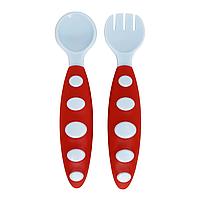 Набор ложка+вилка в футляре (красно-голубой)