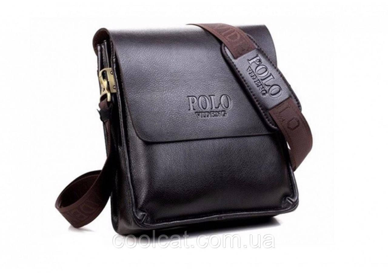 Мужская сумка через плечо  + Подарок! Polo Videng (24х21х7 см)  Черная и Коричневая