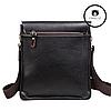 Мужская сумка через плечо  + Подарок! Polo Videng (24х21х7 см)  Черная и Коричневая, фото 8
