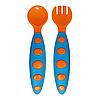Набор ложка+вилка в футляре (оранжево-голубой)