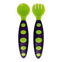 Набор ложка+вилка в футляре (фиолетово-зелёный), фото 1