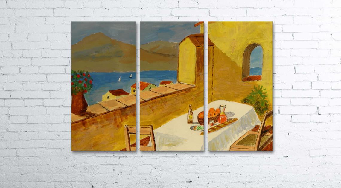 Модульная картина на холсте 3 в 1 Живопись. Морской пейзаж 80х120 см