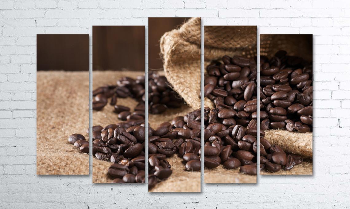 Модульная картина на холсте 5 в 1 Кофейные зерна в мешке 100х150 см (секции разного размера)