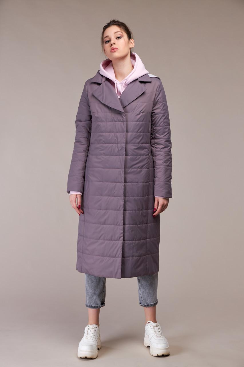 Красивое стеганое пальто из плащевой ткани на утеплителе стежка размер 48-60