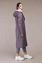 Красивое стеганое пальто из плащевой ткани на утеплителе стежка размер 48-60, фото 3