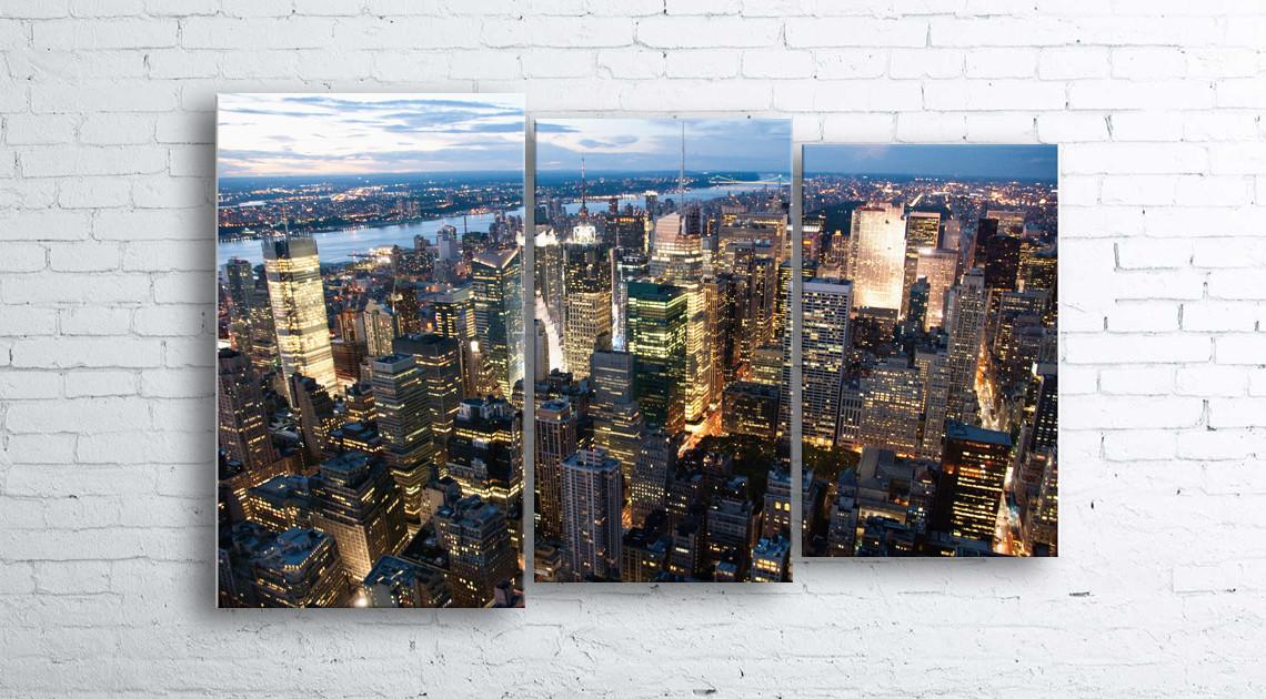 Модульная картина на холсте 3 в 1 Нью-Йорк. Вечер 100х160 см (секции разного размера)