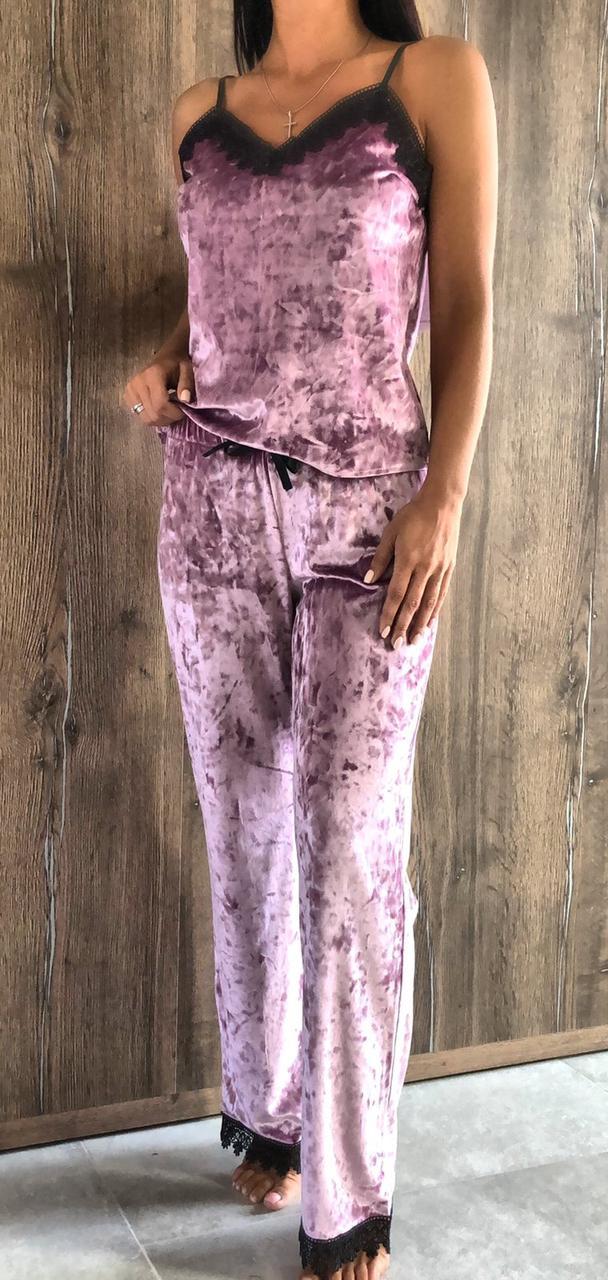 Эксклюзивная брючная пижама с хлопковым кружевом. Велюровая женская одежда для дома.