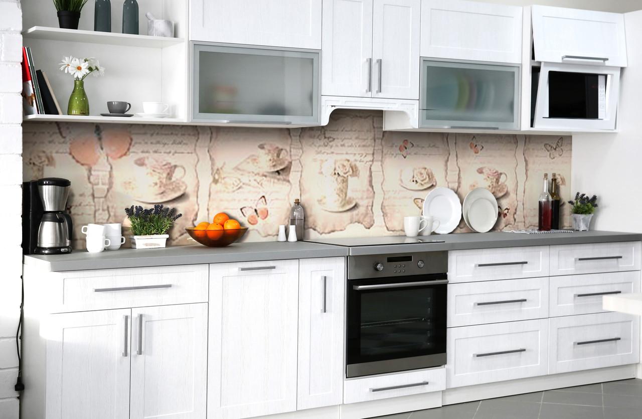 Виниловый кухонный фартук Рецепт (самоклеющаяся пленка ПВХ скинали 3Д) винтаж надписи Абстракция Бежевый 600*2500 мм