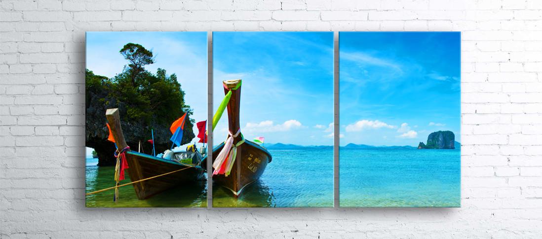 Модульная картина на холсте 3 в 1 Тайские лодки 100х180 см
