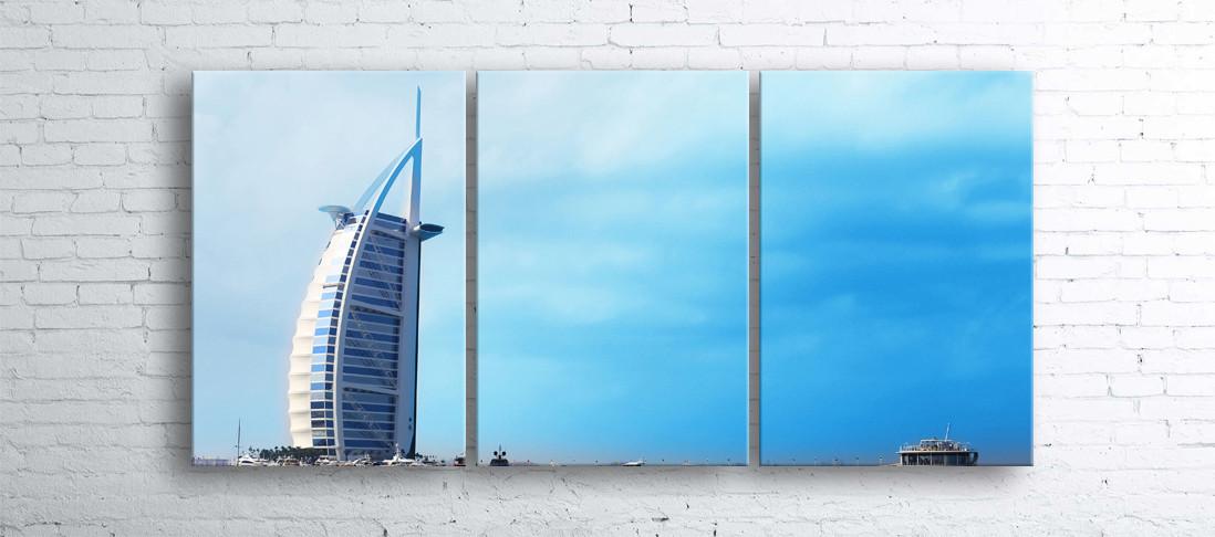 Модульная картина на холсте 3 в 1 Дубаи. Отель Парус 100х180 см