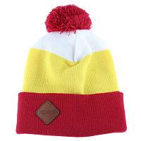 Шапка мужская зимняя с помпоном Zdes 3 color красная (модные молодежные,  шапки с бубоном)