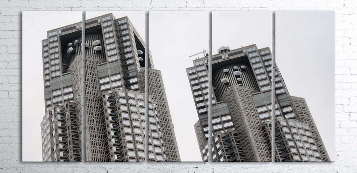 Модульная картина на холсте 5 в 1 Небоскребы 100х200 см