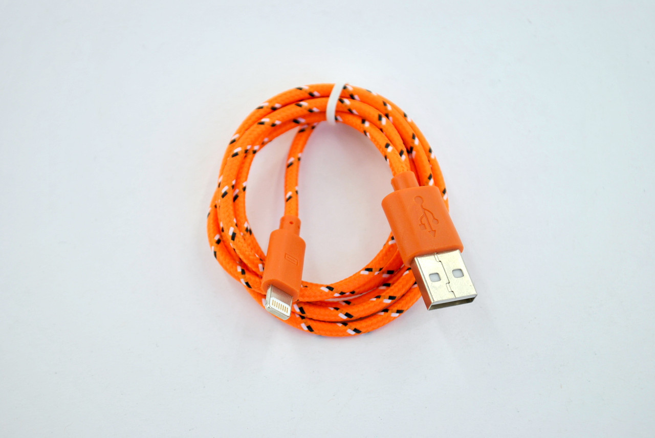 Кабель Usb-cable iPhone 5 4you DL-004 (Тканев. оплетка, Premium, 1м, оранжевый)!!