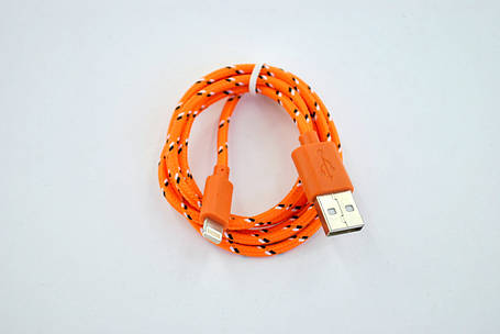 Кабель Usb-cable iPhone 5 4you DL-004 (Тканев. оплетка, Premium, 1м, оранжевый)!!, фото 2