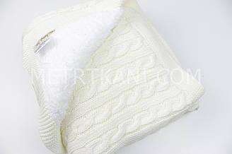 Плед вязанный с овчиной молочного цвета косичка 100% хлопок 75/90 см №56-60