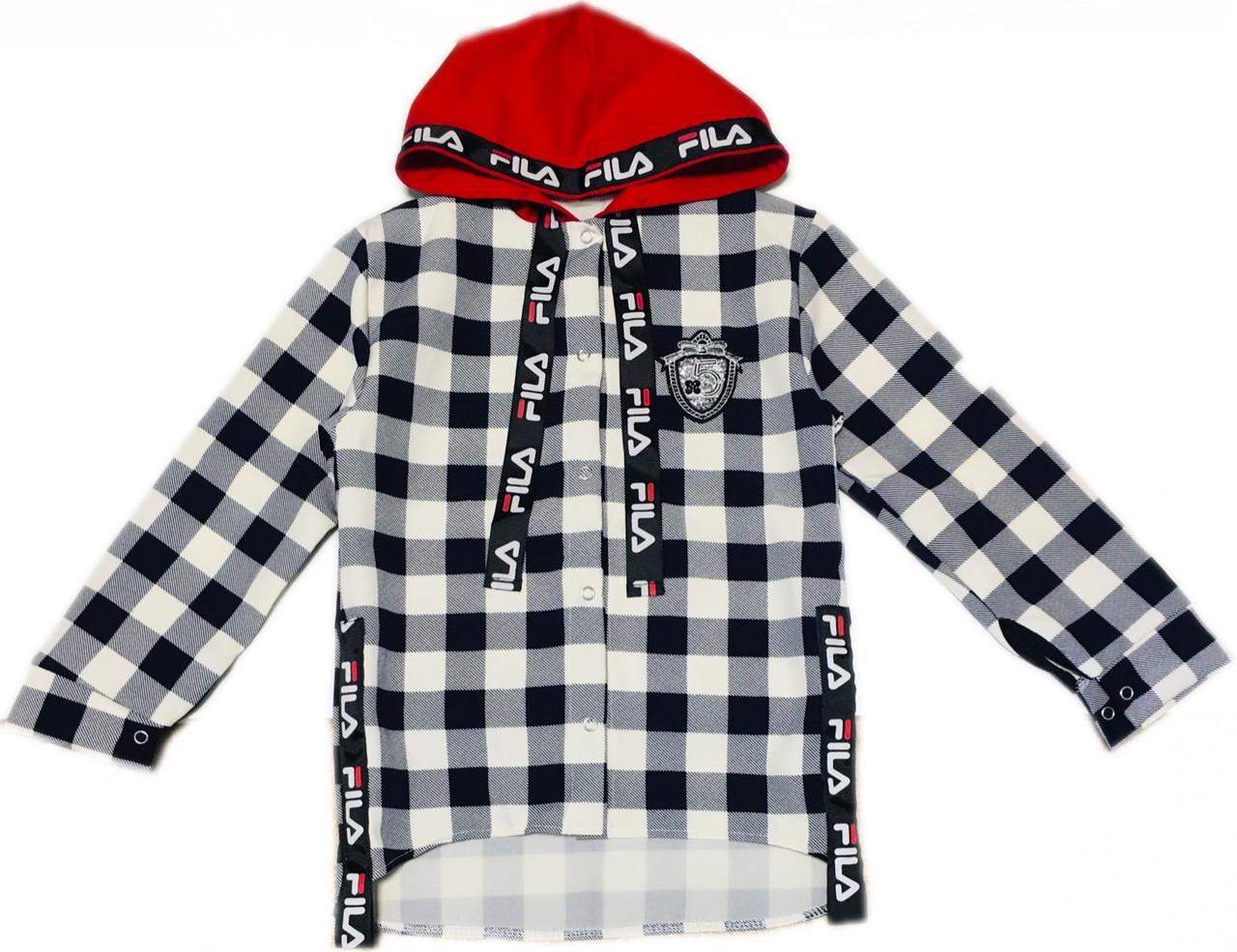 Стильная рубашка туника для девочек костюмка, 122см