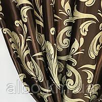 Плотные шторы для зала блекаут 150х270 cm (2 шт) с ламбрекеном ALBO Шоколадные (LS-243-2), фото 7