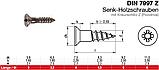 DIN 7997 : нержавеющий шуруп по дереву с потайной головкой, шлиц Pz, фото 2