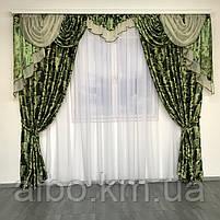 Шторы для зала блекаут 150х270 cm (2 шт) с ламбрекеном ALBO Зеленые (LS-243-15), фото 5