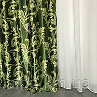 Шторы для зала блекаут 150х270 cm (2 шт) с ламбрекеном ALBO Зеленые (LS-243-15), фото 6