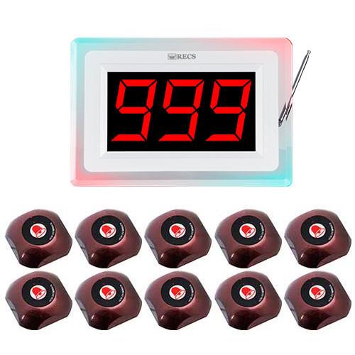 Система вызова официанта RECS №126   кнопки вызова официанта 10 шт + приемник вызовов