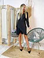 Женское платье-пиджак из креп костюмки с кружевом