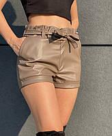 Женские кожаные шорты шоколадного цвета ZH-6196-brown