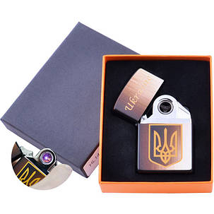 Электроимпульсная USB зажигалка принт Ukraine HL145 круговая молния, фото 2