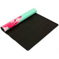 Коврик для йоги и фитнеса каучуковый двухслойный с принтом 3 мм Record 1,83 x 0,61 м Бирюзовый (FI-5662-27)