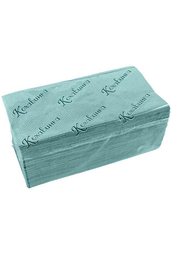 Полотенце бумажное листовое зеленое Z сложением макулатурное 170 шт 1сл ТМ Каховинка