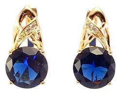 """Серьги M&L желтый оттенок английский замок """"Синие кристаллы на декоративной дужке"""""""