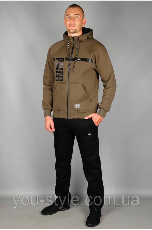 Зимний Мужской спортивный костюм Puma 5479 Хаки