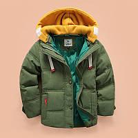 Пуховик детский одежда куртка зимняя на мальчика с капюшоном на натуральном пуху синяя зеленая