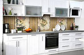 Виниловый кухонный фартук Винтажный Узор Птицы самоклеющаяся пленка ПВХ скинали 3Д цветы Бежевый 600*2500 мм