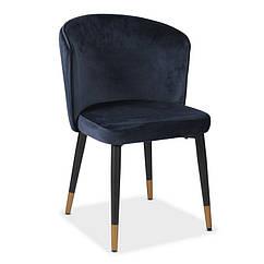 Стілець M-36 м'яке крісло метал колір індиго вельвет в стилі модерн для дому та HoReCa