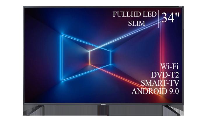 "Телевизор Sharp Шарп 34"" Smart-TV/Full HD/DVB-T2/USB Android 9.0"