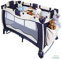 Манеж кроватка Wonderkids Dreem&Play (синий/бежевый), детский манеж