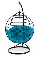 Подвесное кресло кокон для дома и сада с большой подушкой до 150 кг бирюзового цвета в черном коконе AURORA-S