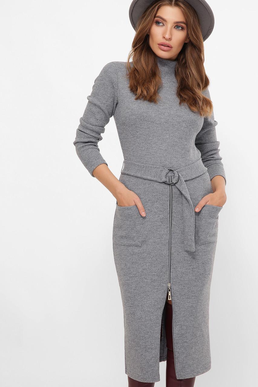 Теплое платье из Ангоры ниже колена серое 44,46,48,50