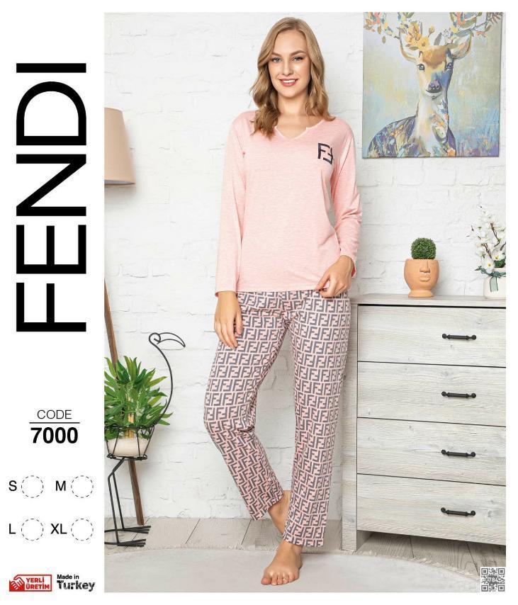 Пижама женская демисезонная  (футб. длинный рукав +штаны), рисунок Лиса, оптом ПАК/4 шт,  р.S-XL, Fendi