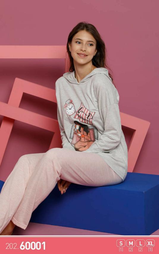 Комплект женский, демисезонный (футболка длинный рукав +штаны), оптом ПАК./4шт р.S-XL, Sexen