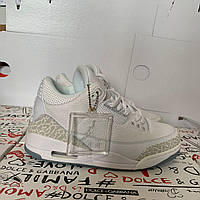 "Кроссовки Nike Air Jordan 3 ""TRIPLE WHITE""реплика, фото 1"