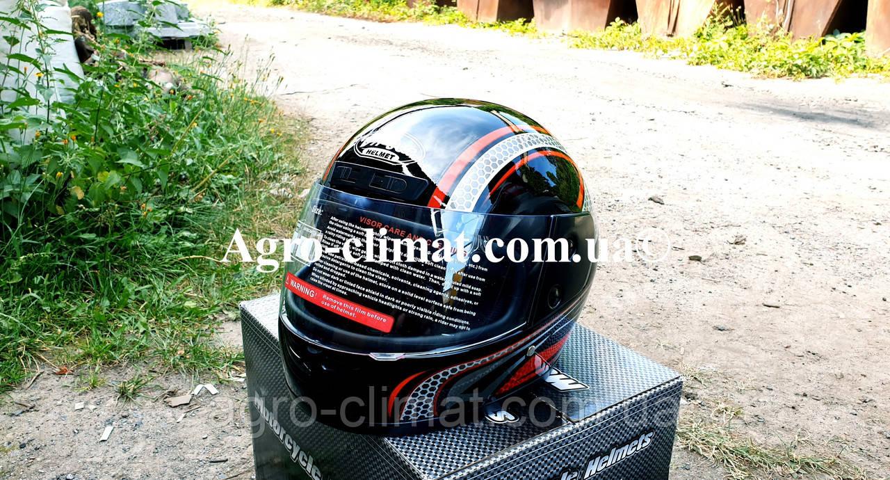 Шлем для мотоцикла черный с красным Virtue 03 взрослый размер М