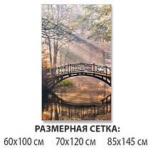 Виниловая наклейка на стол Мост-Арка над лесной рекой самоклеющаяся пленка с ламинацией, серый 60 х 100 см, фото 2