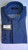 Элегантная Мужская рубашка DERGI с воротником на пуговице приталенная с длинным рукавом  код 6178-1